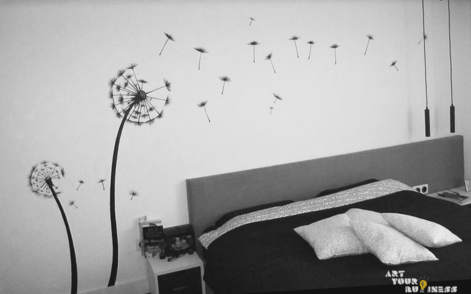 private bedroom dandelion graffit
